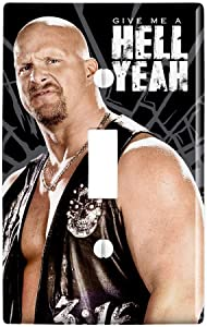 GRAPHICS & MORE WWE Stone Cold Steve Austin Hell Yeah Plastic Wall Decor Toggle Light Switch Plate Cover