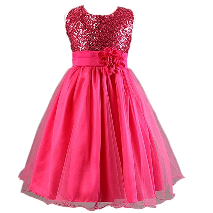 Waboats Vestido Flores Para NIÑA de Boda Noche Fiesta Lentejuelas Vestidos 6T Rosa roja