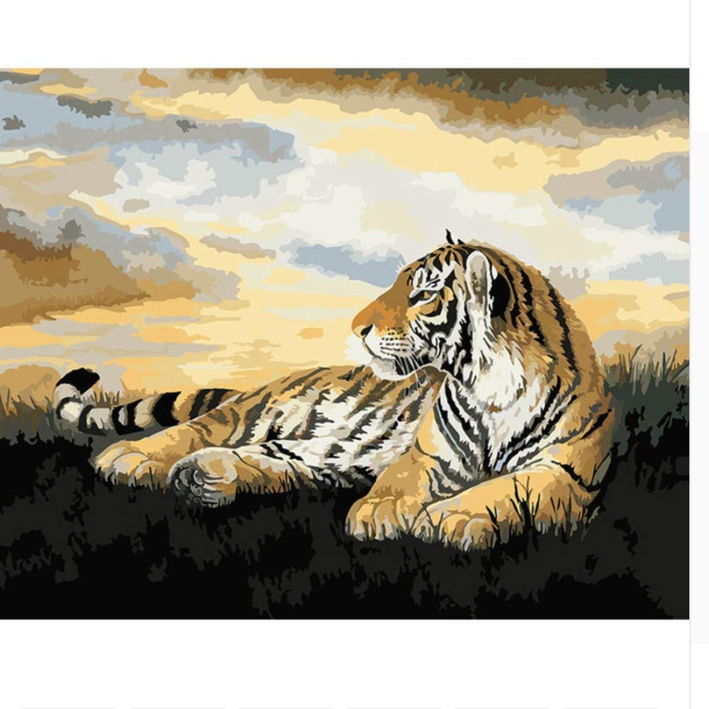 MZLPD Tiger Animals DIY Painting by Numbers Imagen en la Pared Pintura al óleo sobre Lienzo habitación, sin Marco