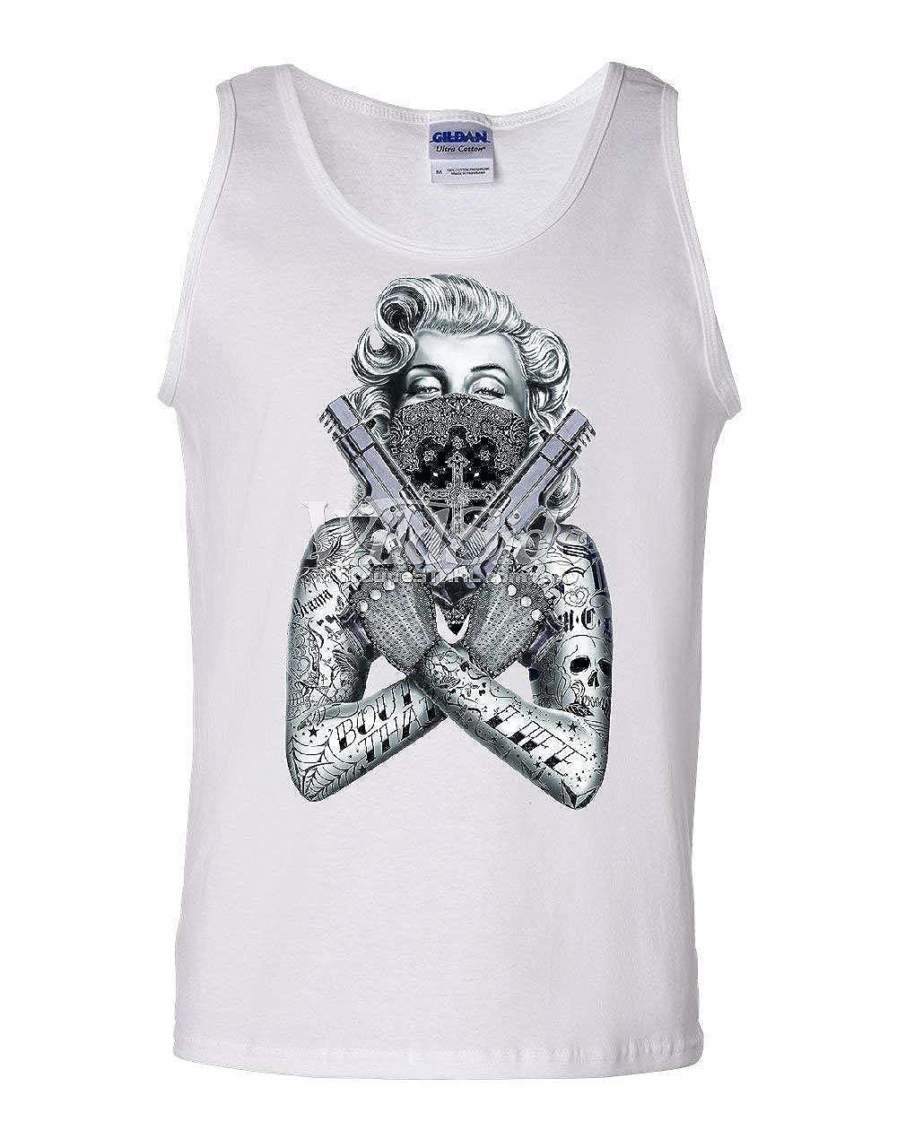 Tattooed Marilyn Guns Sweatshirt Bandana Thug Life Badass Gangsta Sweater