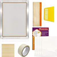 22 Pieces Screen Printing Starter Kit MQ 10 x 14 Inch Wood Silk Screen Printing Frame White Mesh Screen Printing Squeegees Inkjet Transparency Film and Mask Tape