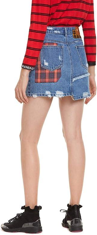 Desigual Skirt Comic Falda, Azul (Denim Medium Wash 5053), 24 ...