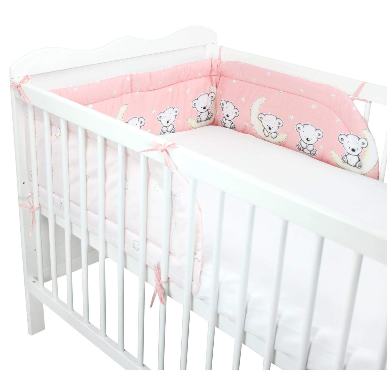 210x30cm Cuna 140x70 Buhos Rosa TupTam Protector para Cama de Beb/é Acolchado