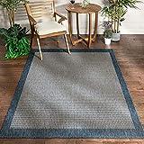 Well Woven Woden Blue Indoor/Outdoor Flat Weave