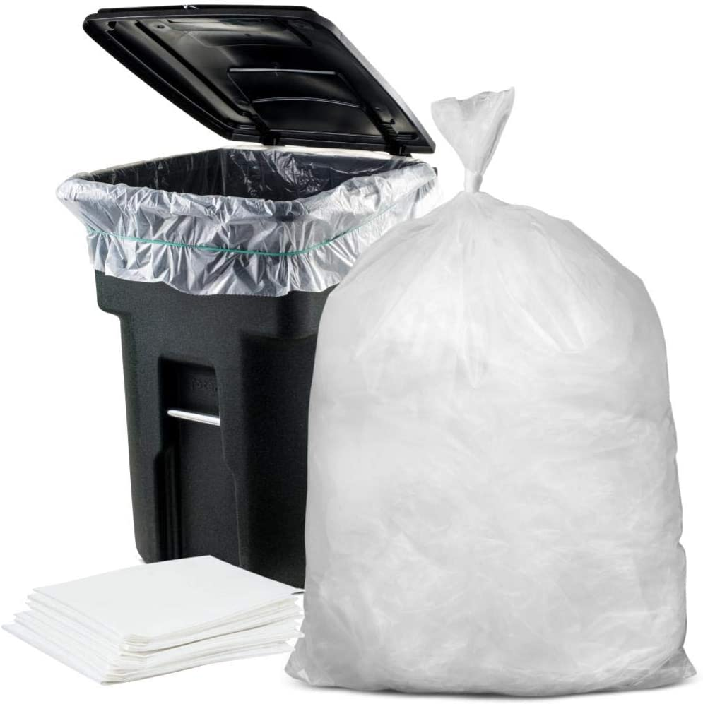 """Plasticplace 95-96 Gallon Garbage Can Liners Heavy Duty Trash Bags, 1.5 Mil, Clear, 61"""" x 68"""", 25 Count"""