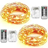 AYG 2 Set LED String Lights,Fairy Lights Fairy String Lights Battery Operated Waterproof 8 Modes 100 LED 33foot Copper Wire Firefly Lights Remote Control for Gardens, DIY Party Decorative,Warm White