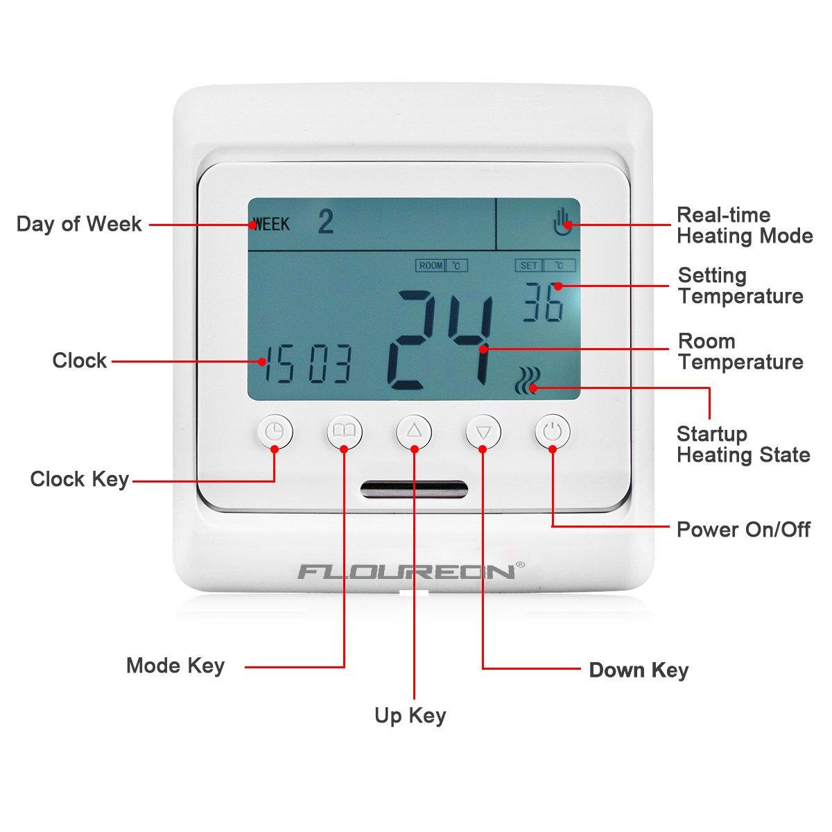 FLOUREON Heating Thermostat LCD Digital Backlight Programmable 5+2 ...