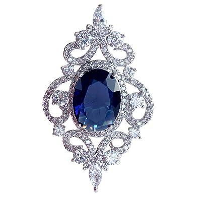 Selovo Vintage Damen Blau Oval Saphir Farbe Cz Kristall Hochzeit