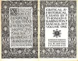 img - for Critical and Historical Essays. Volume One. Everyman's Library No. 225 book / textbook / text book