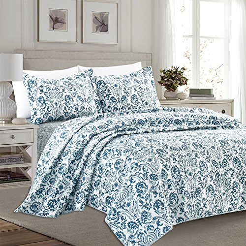 Home Fashion Designs 3-Piece Reversible Quilt Set with Shams. All-Season Bedspread with Floral Printed Pattern in Bright Colors. Claribel Collection Brand. (Full/Queen, Multi)
