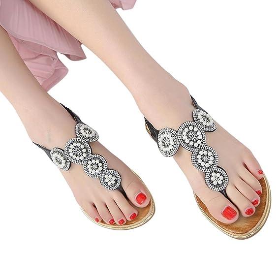 b9e1ce318c486 Amazon.com: Sandals Women Bohemia Beads Summer Shoes Wild Casual ...