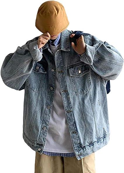 (BaLuoTe)メンズ デニムジャケット 折り襟 ジージャン ビッグシルエット 上着 無地 カコイイ コート ジャケット アウター