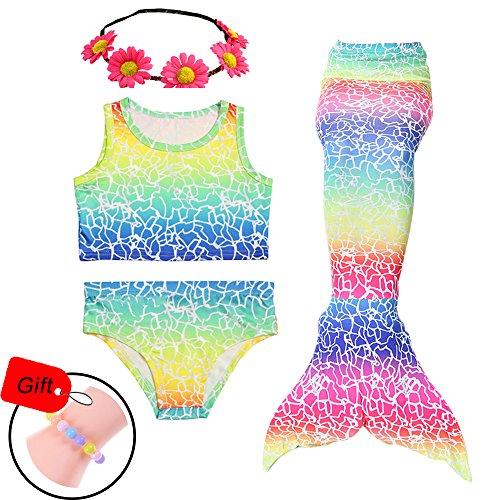Jeferym 4PCS Girls Swimsuits Mermaid Tail for Swimming Bikini Set Toddler Big Girl 3-14Y D Colourful 3-4 Years (Colourful Girls Swimming Costumes)