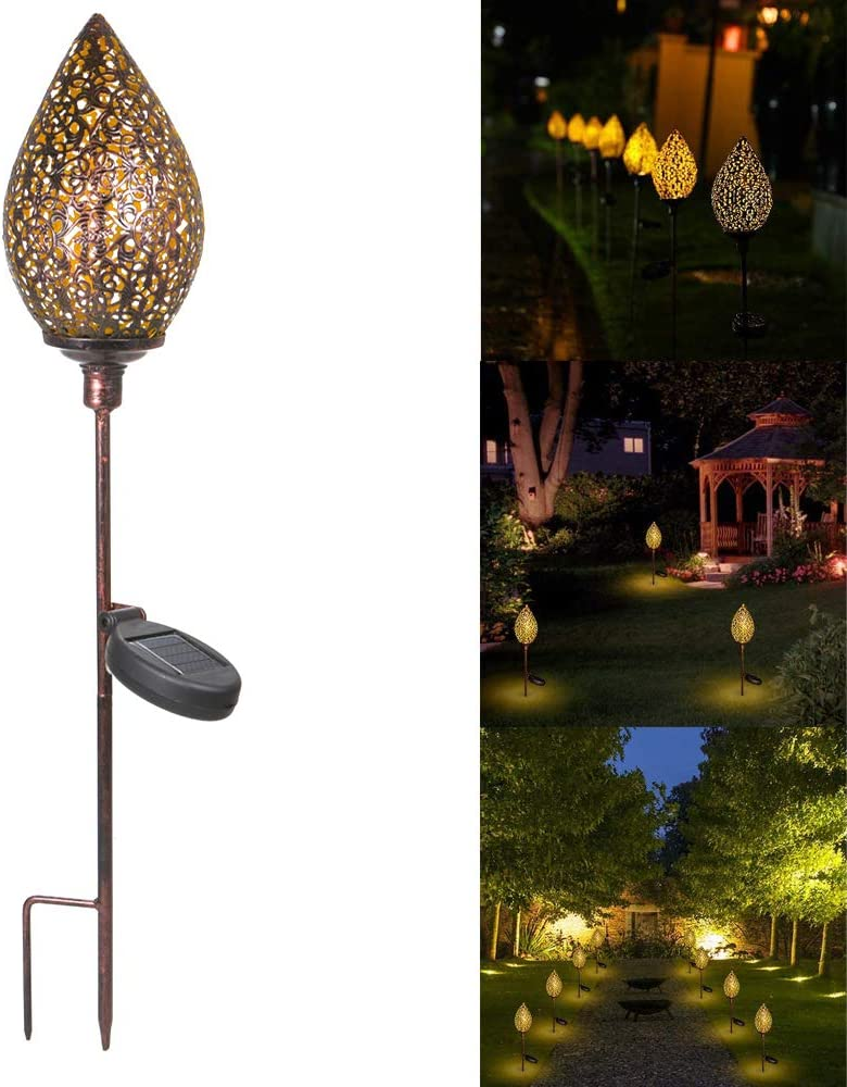 Lawn Patio PopHMN Garden Solar Light Waterproof Metal Olive Light for Outdoor Decoration Yard Courtyard Durable Outdoor Stakes Light