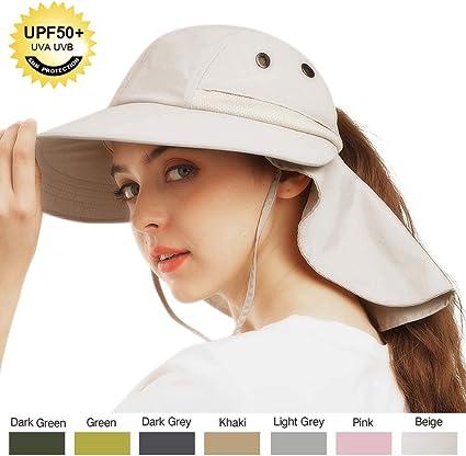 LCZTN Kids Ponytail Sun Hat Wide Brim UV Protection for Girls Beach Bucket Cap