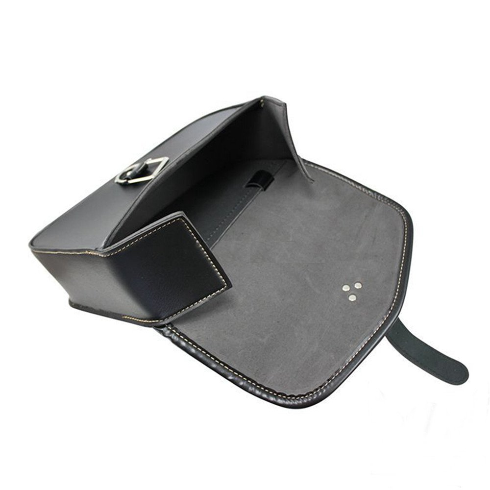 1 Pcs Motorcycle Side Saddlebag PU Leather Waterproof Left Side Luggage Tool Bag Black