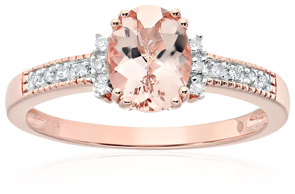 Rose Gold-plated Silver Morganite And Diamond Accented Solitaire Engagement Ring, Size 7 Amazon Collection R5757RMORG