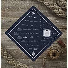 Colter Co. Survival Bandana for Fishing, Camping, Hiking   How to Tie Fly Fishing Knots Print, Red, 100% Cotton, Made in the USA by