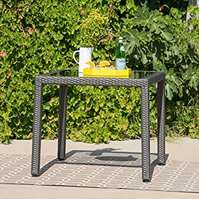 Christopher Knight Home San Tropez Outdoor Wicker Dining Table with Glass Top - This elegant Table is ideal for intimate outdoor Dining Manufactured in China Assembly required but completely worth it - patio-tables, patio-furniture, patio - 61cOl0NNYYL. SS400  -