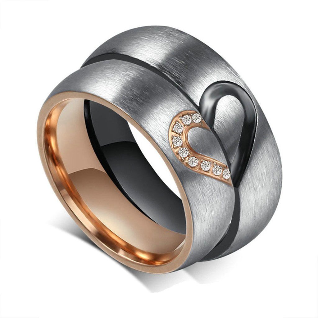 KnBoB Couples Stainless Steel His& Hers Matching Love Heart Wedding Bands Engagement Rings Black Rose Gold KBPJSZ5334WRG