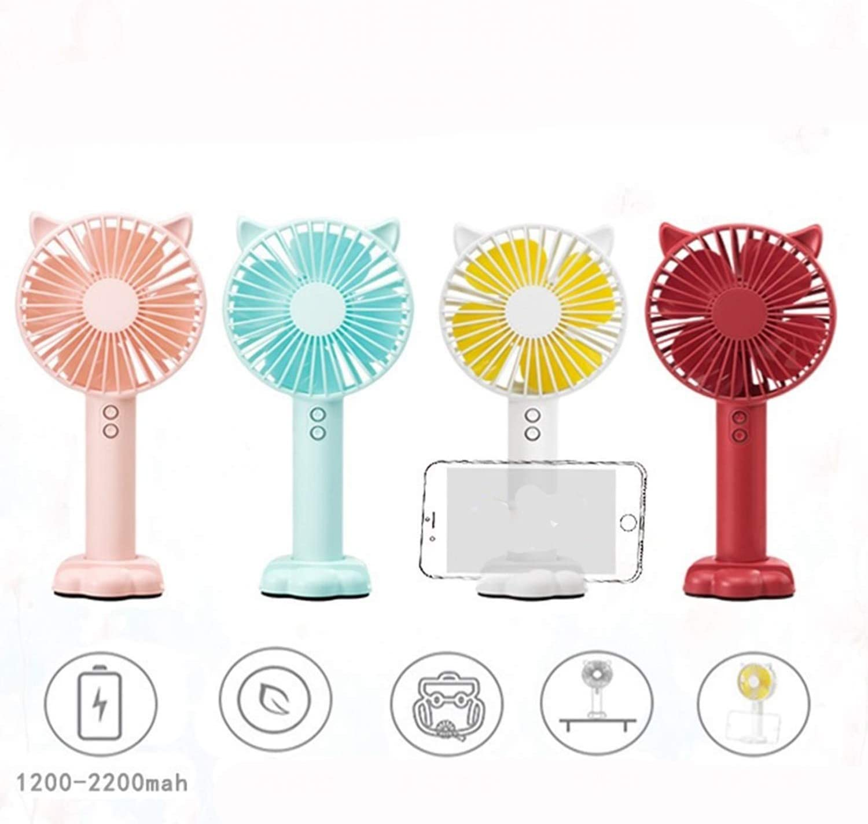 Color : Dark Blue Air Cooler Handheld Mini Fan Charging Cartoon Small Fan Night Light Mobile Phone Bracket USB Personal Fans