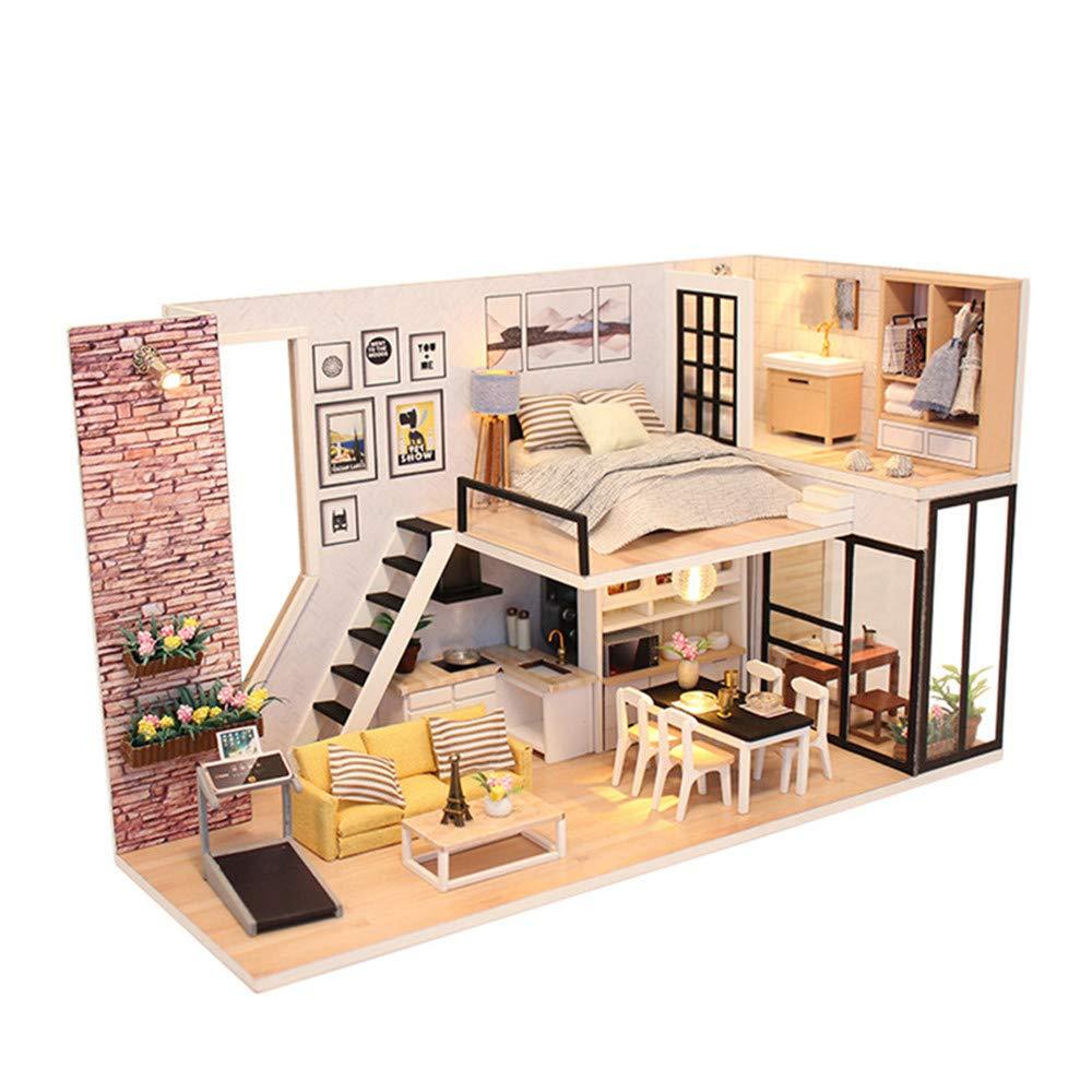 Casa fai-da-te Fai da te casa per portarti la felicità copri manuale modello di montaggio Villa creativi giocattoli di legno regali casa di bambole in legno con mobili e accessori, giocattoli educativ