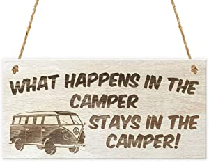 Aianhe What Happens in The Camper Stays in The Camper Wood Signs for Camping Wall Decor Wooden Plaques Hanging Craft 10 x 5 Inches