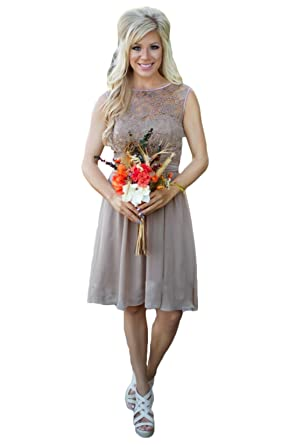 Aokaixin Scoop Plus Size Short Country Bridesmaid Dresses for Beach ...