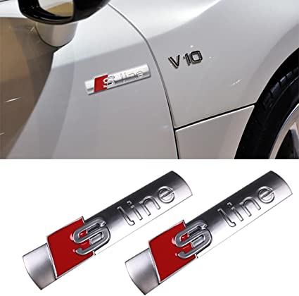 Audi S Line Car Emblem Chrome Stickers Decals Badge Labeling 2 Pack