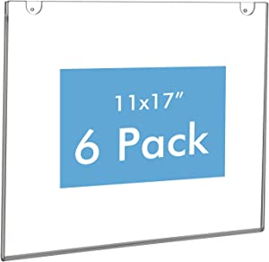 NIUBEE Acrylic Sign Holder 11x17 Horizontal,Clear Poster Picture Frames for Paper, Bonus with 3M Tape and Mounting Screws(6 Pack)