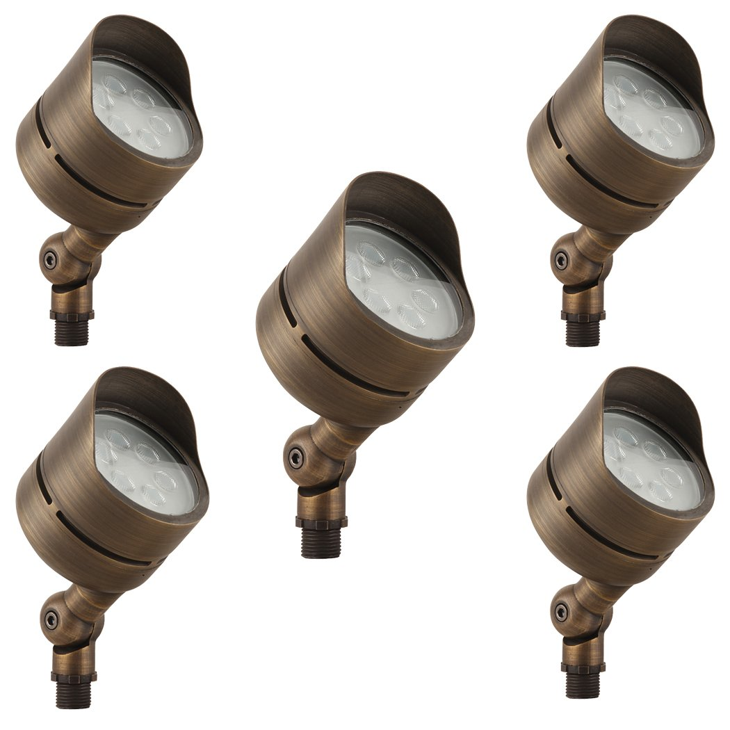 LFU Solid Brass Constructed Built-in LED Spot Up Flood Light. Low Voltage. (5, Polaris)