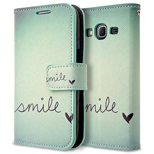 Galaxy Prevail LTE Case, RANZ Stylish Design Deluxe PU Leather Folio Flip Book Wallet Pouch Case Cover (Smile) for Samsung Galaxy Core Prime G360/ Samsung Galaxy Prevail LTE (Samsung Galaxy Prevail Cases)