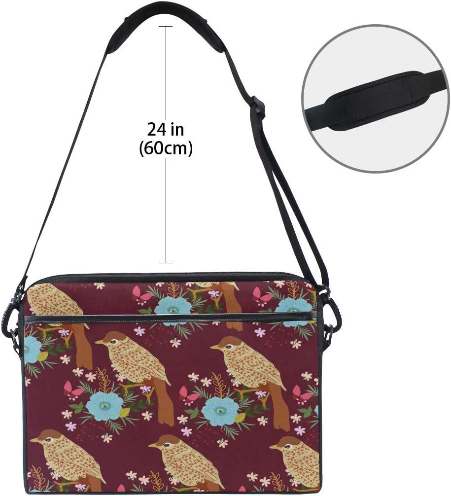 Briefcase Messenger Shoulder Bag for Men Women College Students Business People Office Work Laptop Bag Bird Flower Pattern 15-15.4 Inch Laptop Case