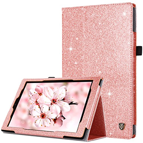 BENTOBEN Case for Fire HD 10 Tablet (7th/5th Generation,2017/2015 Release)-Bling Sparkly Folio Folding Stand Cover with Stylus Holder &Auto Wake/Sleep Glitter Shiny Smart Case for Fire HD 10,Rose Gold