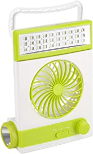 WONFAST Solar Table Fan, 3 in 1 Portable Multi-Functional Solar Cooling Desk Fan Handheld Camping Fan Flashlight Torch Eye-Care LED Table Lamp for Home Office Camping Travel Outdoor (Green)