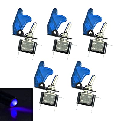 ESUPPORT Car Blue Cover Blue LED Light Rocker Toggle Switch SPST ON Off Pack of 5: Automotive