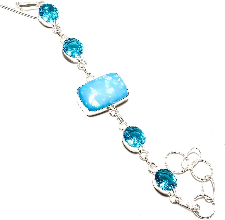 jewels paradise SF-1143 - Pulsera de Doble ópalo y topacio Azul Hecha a Mano en Plata de Ley 925 chapada en Plata de Ley - Pulsera de Cadena Ajustable y Flexible con eslabones Largos