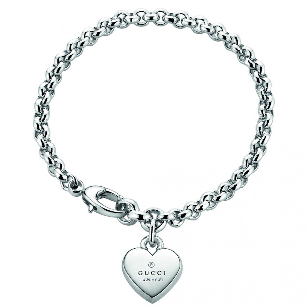 GUCCI TRADEMARK Heart pendent silver bracelet 6,24 Inch YBA356210001016