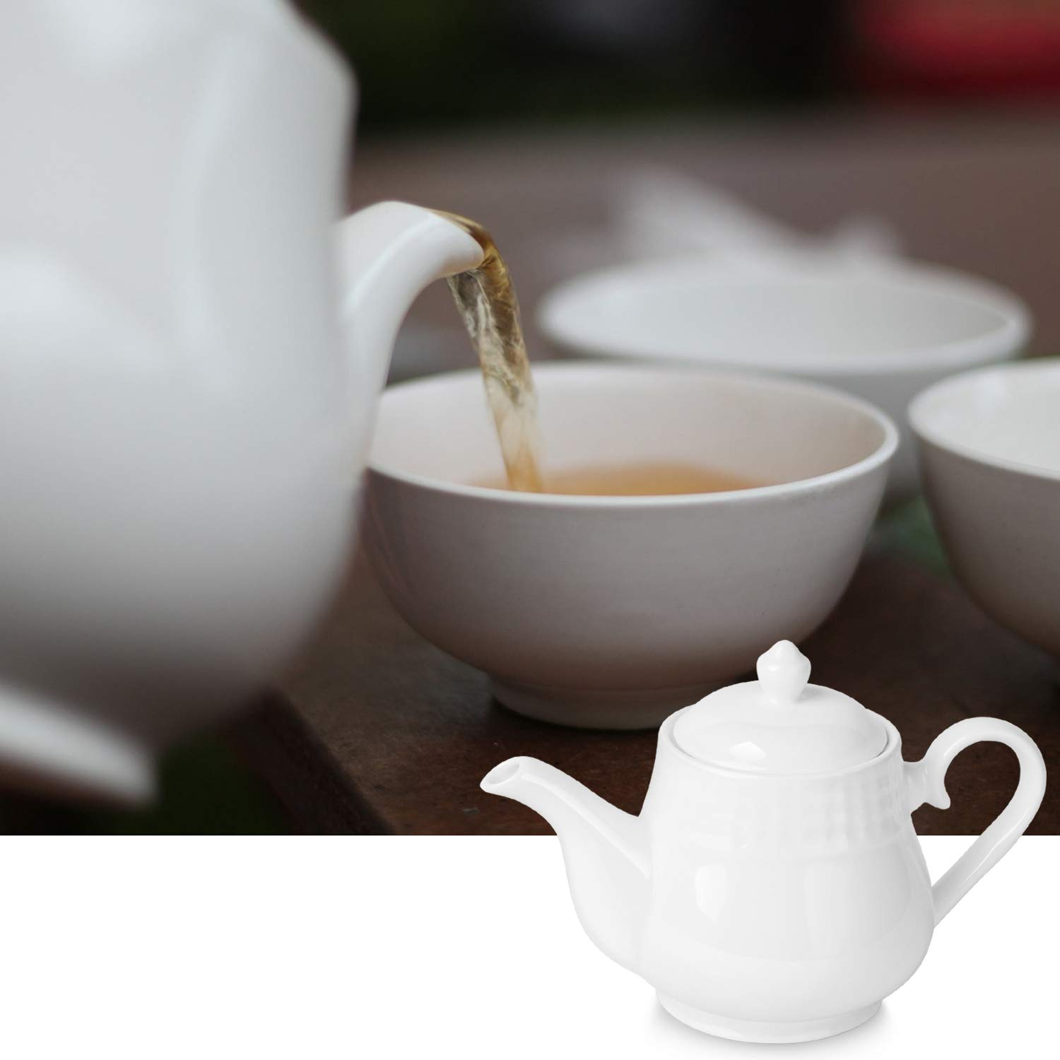 Beverage Serveware Set for 2-3 Tea Cups Flexzion Porcelain Teapot Coffee Mugs 24 Ounce Modern English Classic Style Microwave Oven /& Dishwasher Safe Pure White Ceramic Tea Pot w//Removable Lid