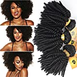"Black Rose Hair Afro Kinky Curly Brazilian Curly Weaves Hair Bundles Human Hair Extensions Weft Wave Natural Color 12""-28"" 50g/pc"