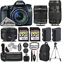Canon EOS 70D DSLR Camera + Canon 18-135mm IS STM LensCanon 50mm 1.8 II Lens + Tamron 70-300mm Lens + Battery Grip + Backup Battery + 2 Of 32GB Class 10 Memory Card - International Version