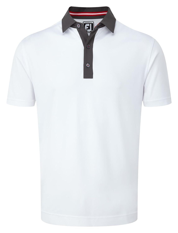 Foot Joy Smooth Pin Dot Collar Polo Hombre Blanco/Gris/Rojo, Small ...