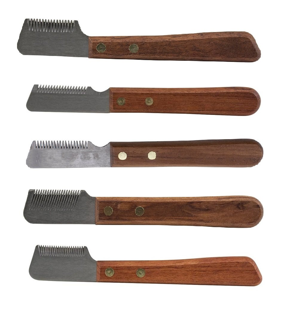 Poochie's Paradise Left Hand Dog Grooming Coat Stripping Knife Stripper Trimmer Tool Wooded Handle (Full Set - All 5 Knives)