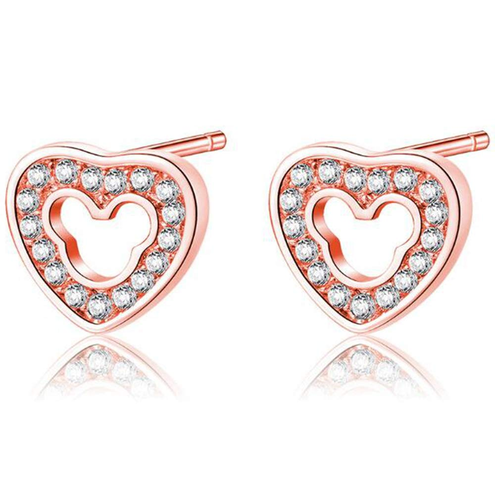 Silver Rose Gold Plated Heart Shaped Cubic Zircon Stud Earrings