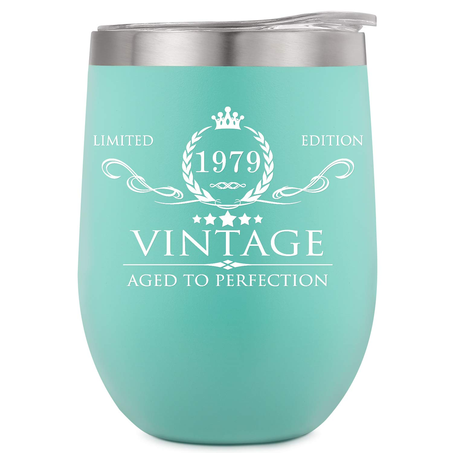 1979 40th Birthday Gifts for Women Men Insulated Wine Tumbler - 12oz Mint Double Wall Vacuum Cup with Lid - Funny 40th Anniversary Gifts Idea, Decorations for Her/Him, Mom, Dad, Husband, Wife