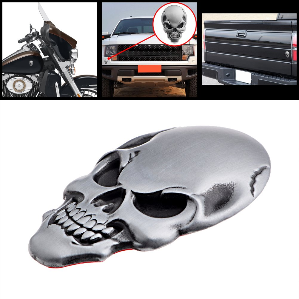 Galleon 1x 3d chrome silver skull bone badge emble metal decal sticker 3m adhesive tape for harley cruiser bobber chopper sport bike