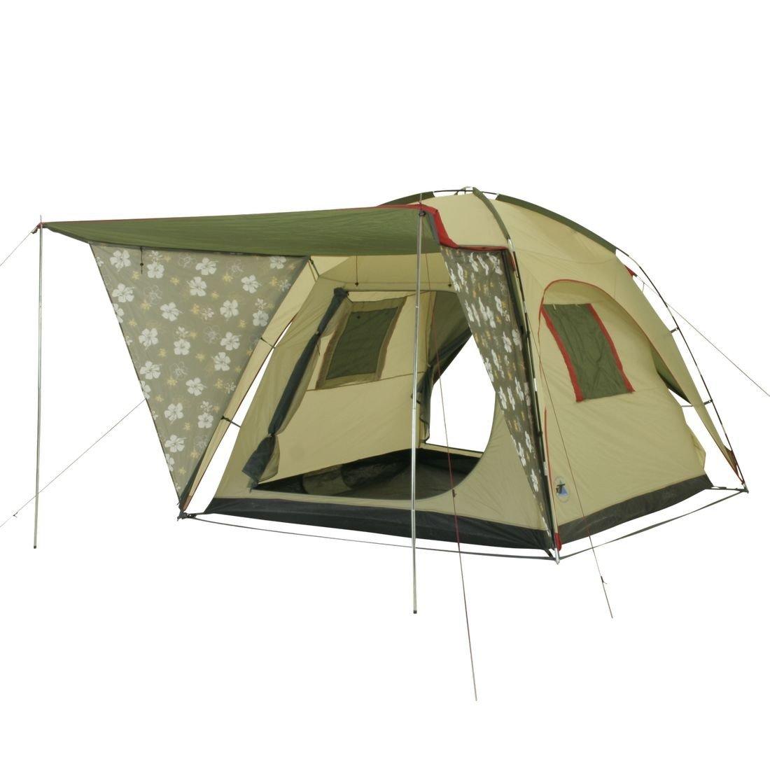 10T Camping-Zelt Flowerville Kuppelzelt mit XXL Schlafbereich für 4 Personen Outdoor Familienzelt mit Sonnnedach, Dauerbelüftung, Bodenplane, wasserdicht mit 5000mm Wassersäule