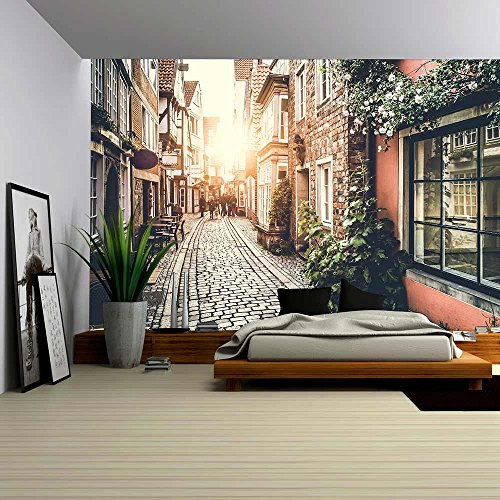 wall26-old-town-in-europe-at-sunset-with-retro-vintage-filter-effect-removable-wall-mural-self-adhes