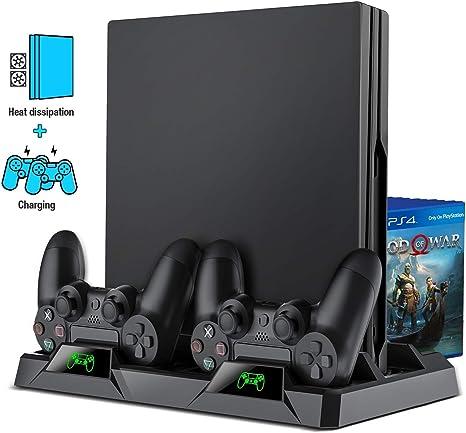 Big Forest PS4 Playstation Soporte vertical Ventilador de refrigeración Ventilador Ventilador Sistema Pro Slim Game Controller Holder Estación de carga Dock Pad: Amazon.es: Videojuegos