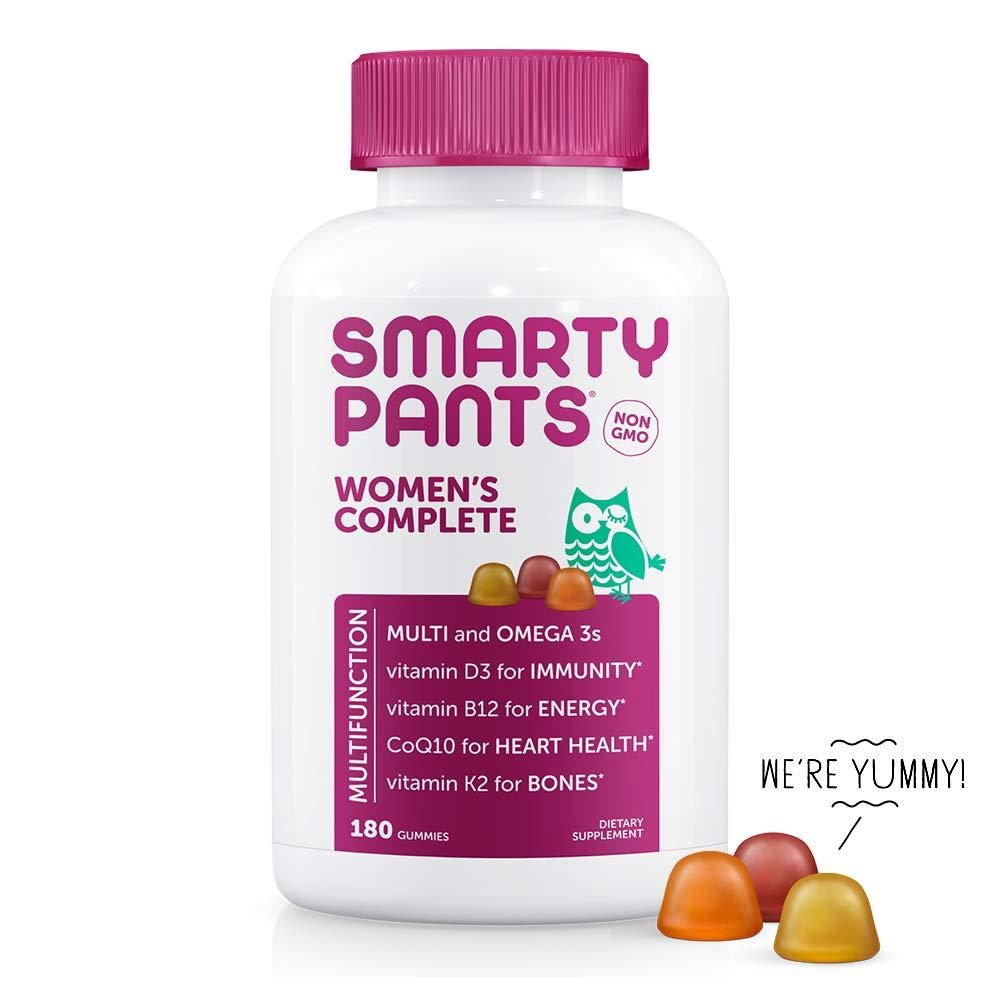SmartyPants Women's Complete Gummy Vitamins, Gluten Free, Multivitamin, CoQ10, Folate (Methylfolate), Vitamin K2, Vitamin D3, Biotin, Methyl B12, Omega 3 DHA/EPA Fish Oil, 30 Day Supply, 180 Count